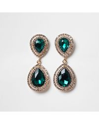 River Island Green Colour Diamante Teardrop Earrings