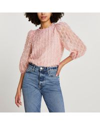 River Island Pink Textured Long Sleeve Blouse Top
