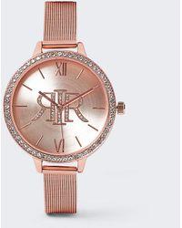 River Island Rose Gold Mesh Strap Watch - Orange