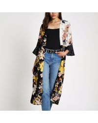 River Island - Black Mixed Floral Print Duster Coat - Lyst