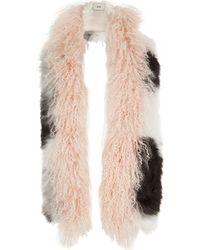 River Island - Light Pink Mongolian Fur Mono Mixed Scarf - Lyst