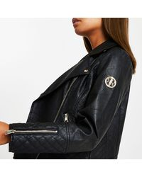 River Island Black Ri Faux Leather Quilted Biker Jacket