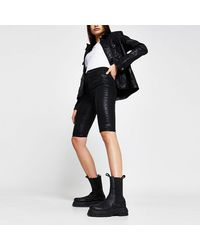 River Island Black High Shine Coated Shorts