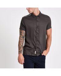 River Island - Tape Short Sleeve Shirt - Lyst
