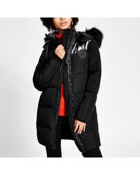 River Island Blocked Quilted Puffer Jacket - Black