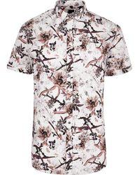River Island - Big And Tall Ecru Floral Short Sleeve Shirt - Lyst