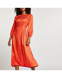 River Island Jacquard Ruched Maxi Dress - Orange