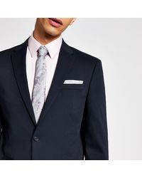 River Island Navy Textured Stretch Skinny Suit Jacket - Blue