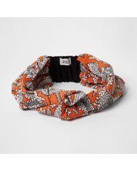 River Island Orange Floral Print Knot Headband