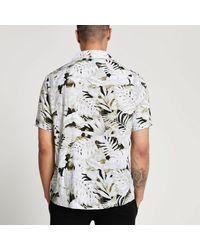 River Island Ecru Leaf Slim Fit Revere Shirt - Natural