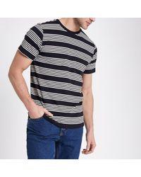 River Island - Lee Black Stripe Print Crew Neck T-shirt - Lyst