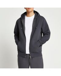River Island Grey Regular Fit Zip Through Hoodie