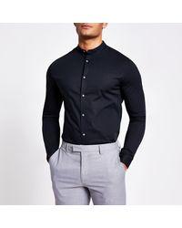 River Island Black Grandad Collar Muscle Fit Shirt