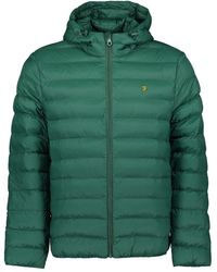 Farah Strickland Wadding Coat - Emerald Green / S