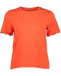 Great Plains Sierra Scalloped Round Neck T-shirt - Orange