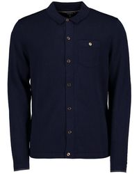 Ted Baker Eastend Knitted Shirt Cardigan - Blue