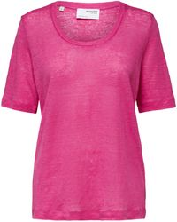 SELECTED Thin Linen Pink U-neck T-shirt