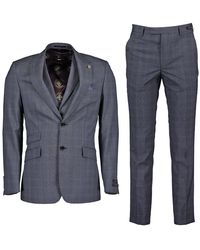 Ted Baker River Wool Check Three-piece Suit - Blue
