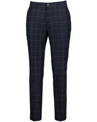 Guide London Woollen Check Trousers - Navy / W32 L32 - Blue