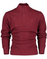 GANT Sacker Rib Half Zip Sweater - Burgundy Mel / M - Red