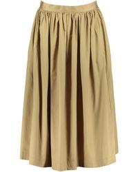 SELECTED - Midi Gathered Organic Cotton Skirt - Lyst