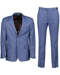 Ted Baker Hector Sharkskin Wool Two-piece Suit - Lt-blue / 38 Regular