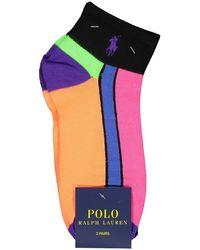 Polo Ralph Lauren Logo Waffle Sneaker Socks - Black / One Size