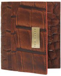 Ted Baker Pulps Croc Embossed Bifold Cardholder - Brown