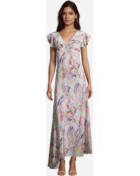 Robert Graham Leighton Romantic Floral Printed Silk Dress - Purple