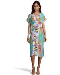 Robert Graham Angelica Palm Print Silk Dress - Blue