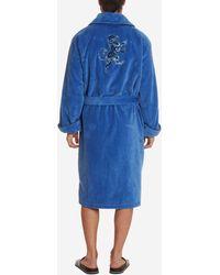 Robert Graham Lion Embroidered Velour Terry Robe - Blue