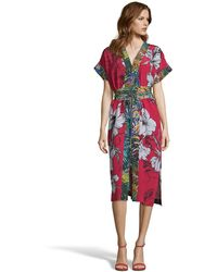 Robert Graham Angelica Large Floral Print Silk Dress - Red