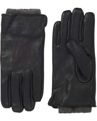 Robert Graham Leather Gloves With Knit Cuff - Black