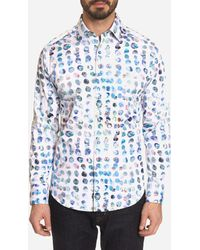Robert Graham Flashback Abstract Dot Classic Fit Button - Down Shirt - White