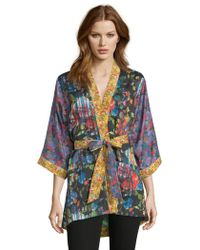 Robert Graham - Laura Black Floral Kimono - Lyst