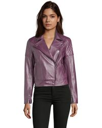 Robert Graham Monroe Metallic Leather Jacket - Purple