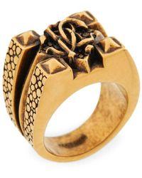 Roberto Cavalli Mirror Snake Ring - Mettallic