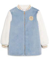 Roberto Cavalli Eco Faux Fur Varsity Jacket - Blue