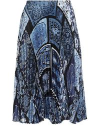 Roberto Cavalli Stamps Print Pleated Skirt - Blue