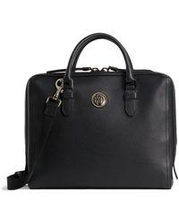 Roberto Cavalli Textured Leather Briefcase - Black