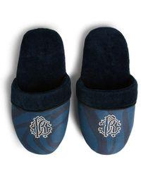 Roberto Cavalli Slipper mit Zebra-Print und Logo - Blau