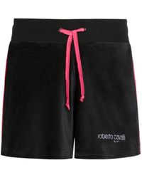 Roberto Cavalli Logo Track Shorts - Black