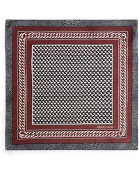 Roberto Cavalli Chain Stripe Print Silk Foulard - Black