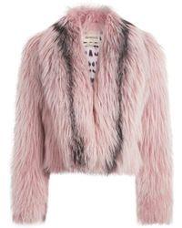 Roberto Cavalli Marbled Fox Fur Bolero Jacket - Pink
