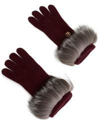 Roberto Cavalli Fox Fur Trim Cashmere Gloves - Red