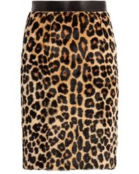 Roberto Cavalli Leopard Print Fur Skirt - Brown
