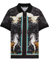 Roberto Cavalli Hybrid animals-print cotton polo shirt - Schwarz