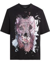 f9198195b838b Roberto Cavalli - Black Broken Glass Cat T-shirt - Lyst
