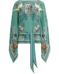 Roberto Cavalli Printed Silk Kaftan - Green