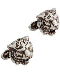 Roberto Cavalli Tiger Head Cufflinks - Metallic